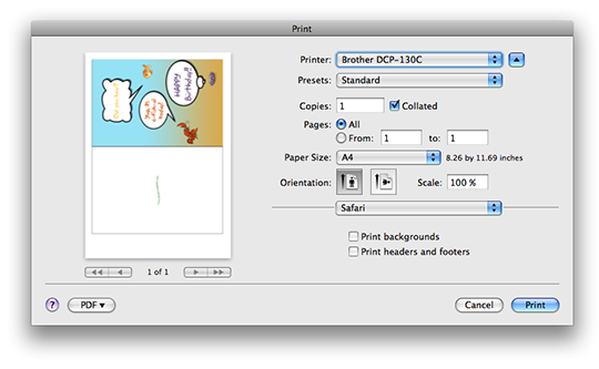 Safari Print Dialog Screen