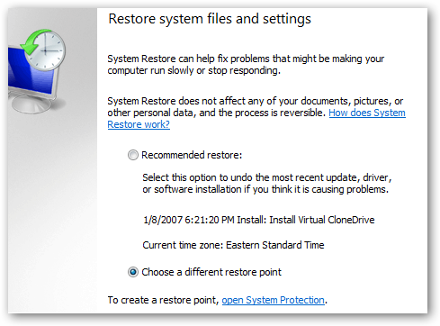 how to open system restore in windows 7