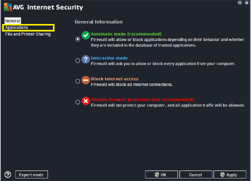 how do i disable avg internet security